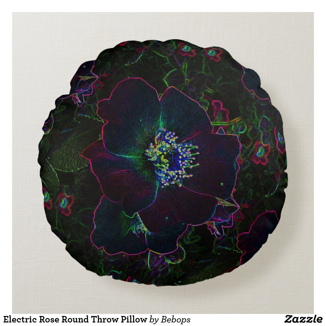 Electric Rose Round Throw Pillow