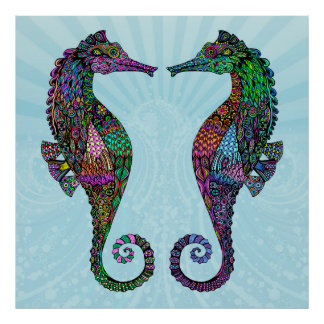 Electric Seahorse Poster/Print