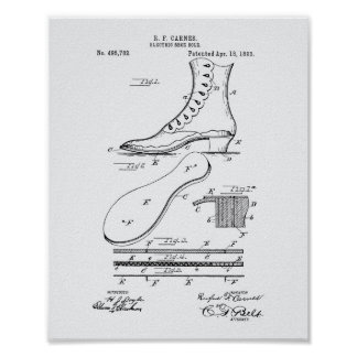 Electric Shoe Sole 1893 Patent Art White Paper Poster
