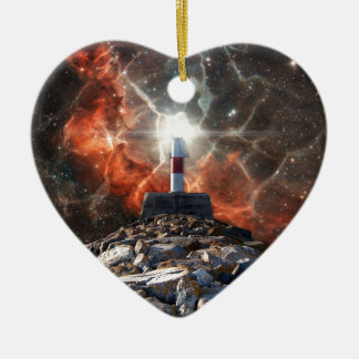 Electric Space Lights Double-Sided Heart Ceramic Christmas Ornament
