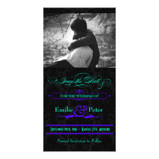 Electric Teal & Purple Photo Save the Date Card