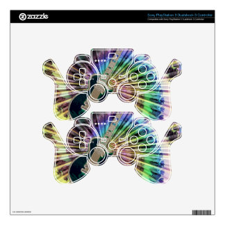 Electric Tie-Dye Guitar Decal For PS3 Controller