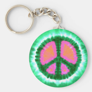 Electric Tie-Dye Peace Sign Basic Round Button Keychain