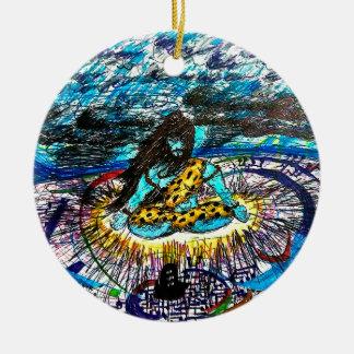electric time travelling shiva ceramic ornament