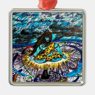 electric time travelling shiva metal ornament