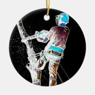 Electric  Tree Surgeon Arborist stihl chainsaw Ceramic Ornament