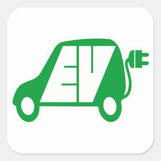 Electric Vehicle Ev Icon Logo Square Sticker Zazzle Com