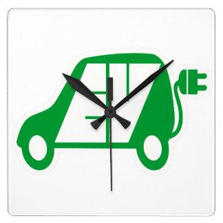 Electric Vehicle EV Icon Logo - Square Wall Clock