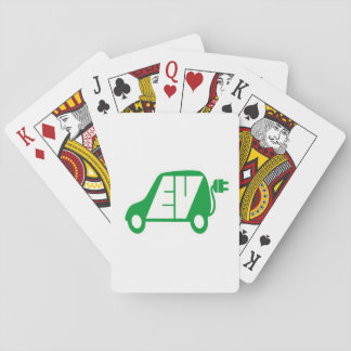 Electric Vehicle Green EV Icon Logo - Cards Playing Cards