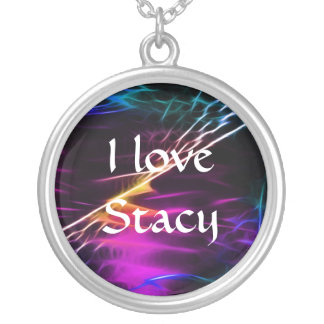 Electric violet love and peace round pendant necklace
