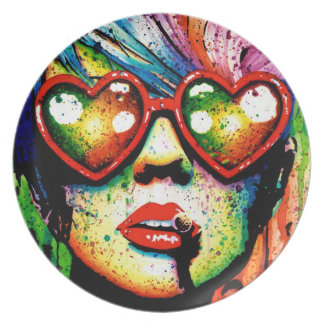 Electric Wasteland Pop Art Portrait Plate