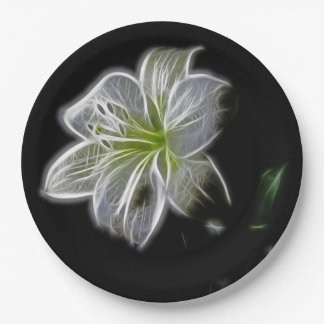 Electric White Lily Green Leaves Black Background Paper Plate