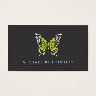 ELECTRIC YELLOW BUTTERFLY LOGO on DARK GRAY Business Card