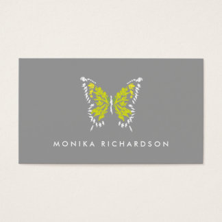 ELECTRIC YELLOW BUTTERFLY LOGO on GRAY Business Card