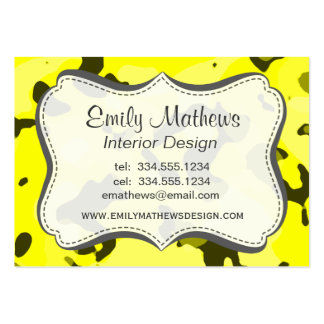 Electric Yellow Camo; Camouflage Business Cards