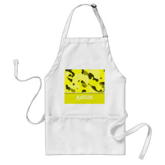 Electric Yellow Camo; Personalized Adult Apron