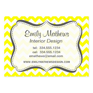 Electric Yellow Chevron Business Cards