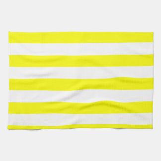 Electric Yellow Horizontal Stripes Kitchen Towel