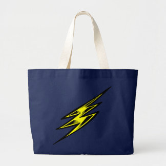 Electric Yellow Lightning Bolt Large Tote Bag