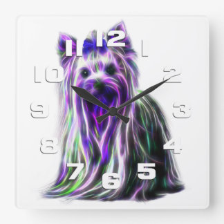 Electric Yorkie Square Wall Clock