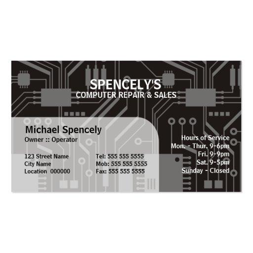 Computer repair business card templates page5 bizcardstudio computer repair electrical circuit board business cards wajeb Gallery