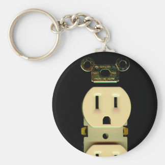 Electrical contractor outlet electricians business basic round button keychain