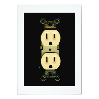 Electrical contractor outlet electricians business 5x7 paper invitation card