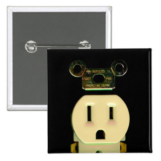 Electrical contractor outlet electricians business pinback button