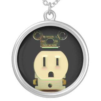 Electrical contractor outlet electricians business round pendant necklace