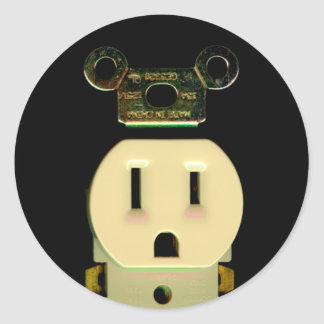 Electrical contractor outlet electricians business classic round sticker
