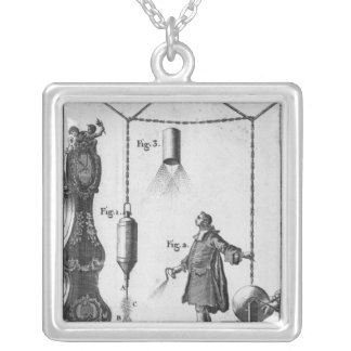 Electrical discharge of bodies square pendant necklace