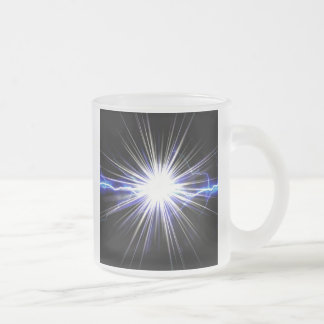 Electrical Lightning Star Burst 10 Oz Frosted Glass Coffee Mug