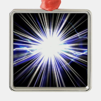 Electrical Lightning Star Burst Square Metal Christmas Ornament