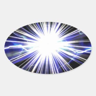 Electrical Lightning Star Burst Oval Sticker
