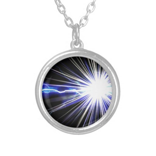 Electrical Lightning Star Burst Round Pendant Necklace