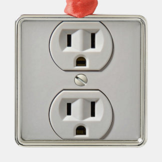 Electrical Outlet Plug in Metal Ornament