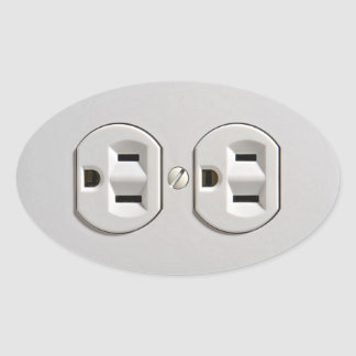 Electrical Outlet Plug in Oval Sticker