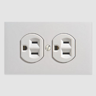 Electrical Outlet Plug in Rectangular Sticker