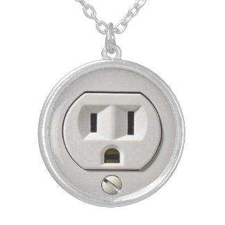 Electrical Outlet Plug in Round Pendant Necklace