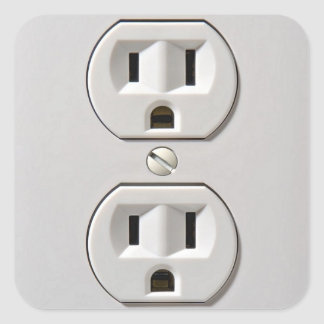 Electrical Outlet Plug in Square Sticker