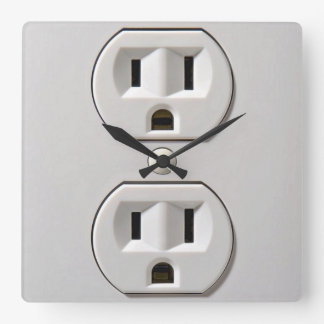Electrical Outlet Plug in Square Wall Clock