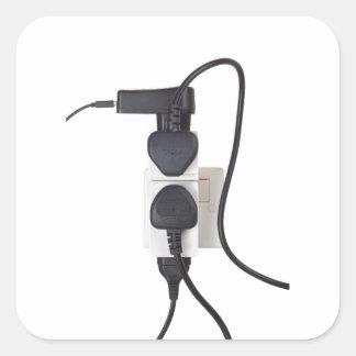 Electrical overload square sticker