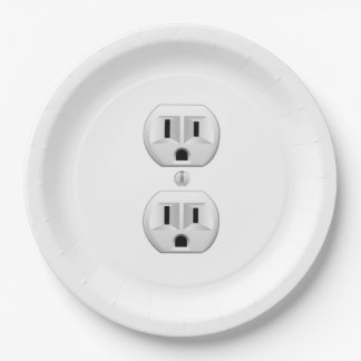 Electrical Plug Click to Customize Color Decor Paper Plate