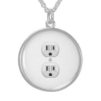 Electrical Plug Click to Customize Color Decor Round Pendant Necklace