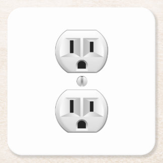 Electrical Plug Click to Customize Color Decor Square Paper Coaster