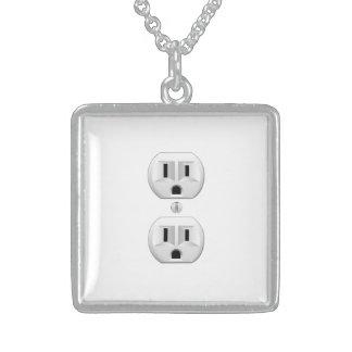 Electrical Plug Click to Customize Color Decor Square Pendant Necklace