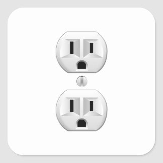 Electrical Plug Click to Customize Color Decor Square Sticker
