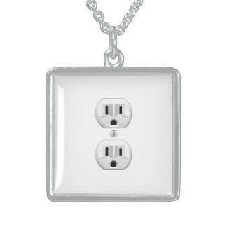 Electrical Plug Click to Customize Color Decor Sterling Silver Necklace