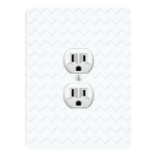 """Electrical Plug Wall Outlet Fun Customize This 6.5"""" X 8.75"""" Invitation Card"""