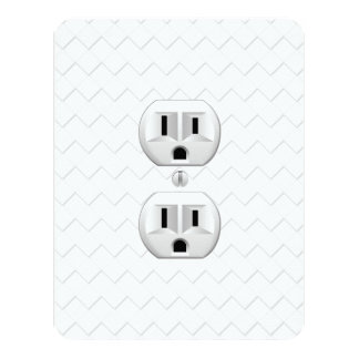 """Electrical Plug Wall Outlet Fun Customize This 4.25"""" X 5.5"""" Invitation Card"""